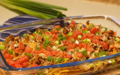 Nachos uit de oven met gehakt en kaas