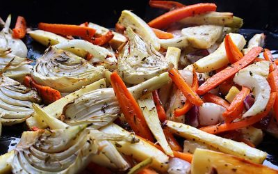 Oven roasted fennel and carrots