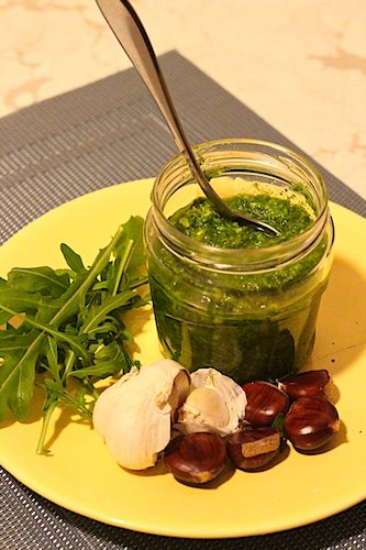 Roasted chestnut rocket pesto recipe