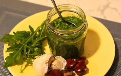 Roasted chestnut and rocket pesto sauce