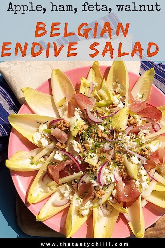 Belgian endive salad with apple, ham, feta cheese and walnut | Witlof salad | Belgian endives recipe | Endive salad with parma ham, apple, walnut and feta cheese