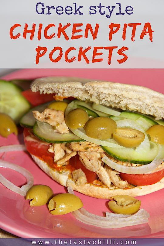 Greek style chicken pita pockets with olives are a healthy and delicious lunch option and are quick and easy to make