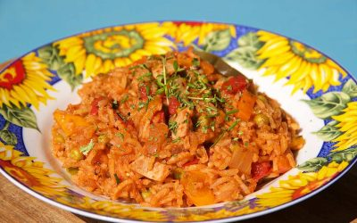 Spicy Mexican rice with tomatoes and sweet peppers
