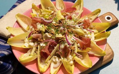 Belgian endive salad with apple, ham and feta cheese