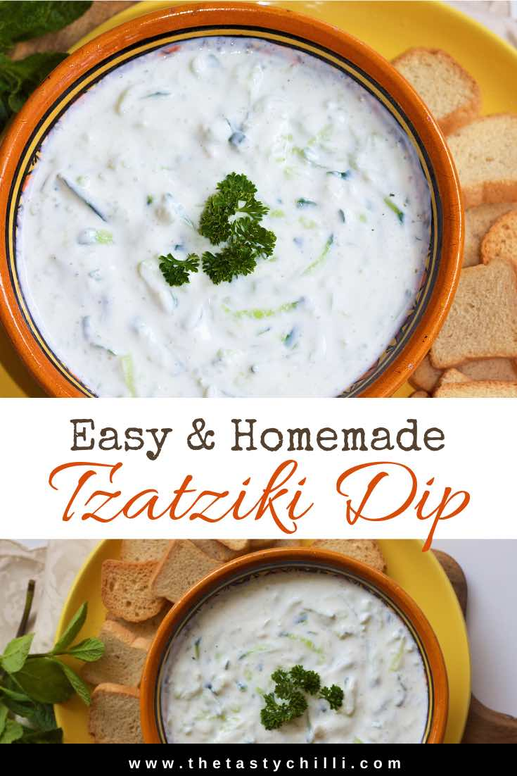 Homemade Greek tzatziki sauce recipe is served as dip with crackers or raw vegetables or sauce with grilled meat and vegetables | Greek tzatziki dip | Traditional greek tzatziki | Tzatziki yoghurt and cucumber dip with garlic #tzatziki #tzatzikidip #tzatzikisauce