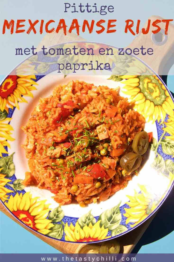 Pittige Mexicaanse rijst met tomaten en zoete paprika | Makkelijke Mexicaanse rijstschotel #rijst #mexicaanserijst #rijstrecept #rijstschotel