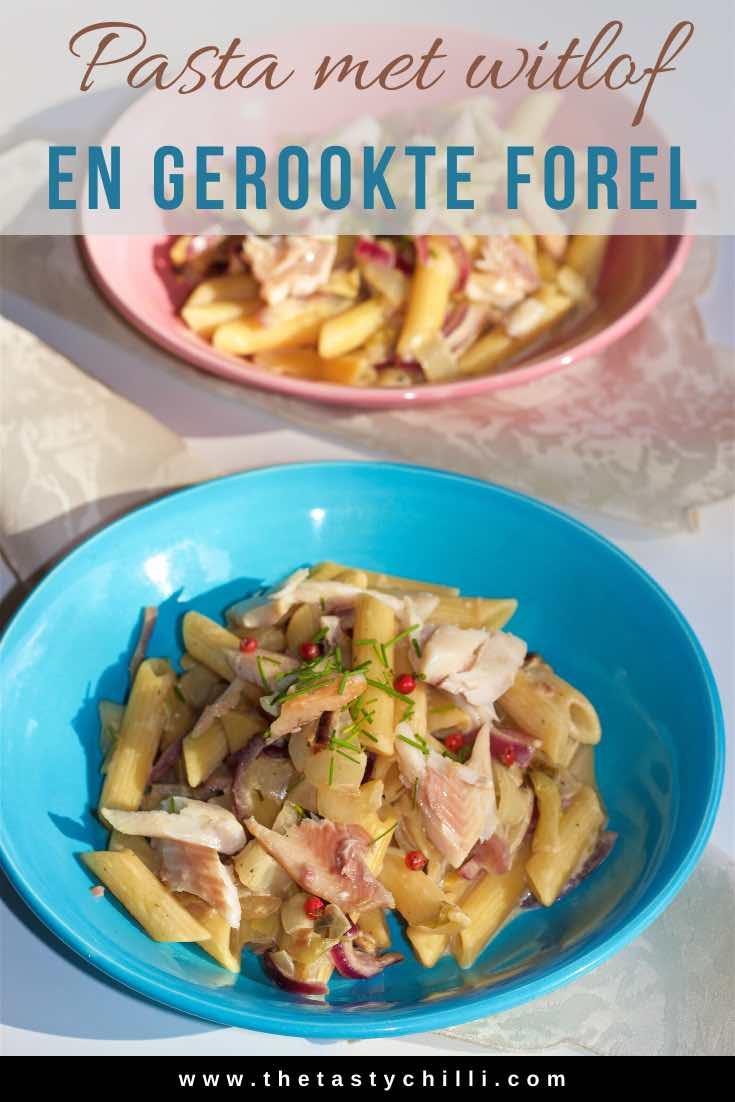 Pasta met witloof en gerookte forel | Penne met witloof en gerookte forel #pastarecept #gerookteforel #witlof #witloof #pastametwitloof