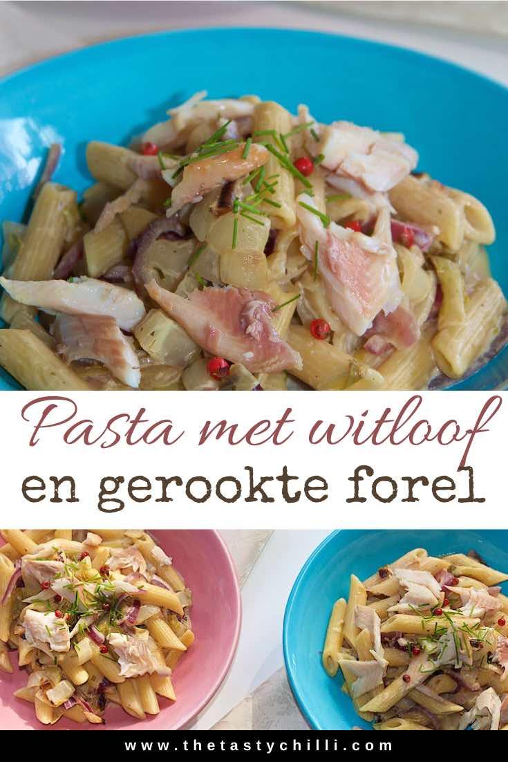Pasta met witlof en gerookte forel | Penne met witlof en gerookte forel #pastarecept #gerookteforel #witlof #witloof #pastametwitloof