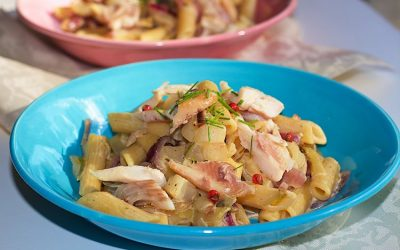 Creamy smoked trout pasta with endives