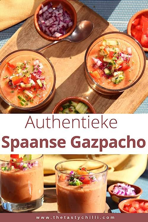 Spaanse gazpacho is een koude tomatensoep op basis van tomaten, komkommer, paprika, look en olijfolie. Deze klassieke Spaanse soep is heerlijk verfrissend in de zomer als aperitiefhapje #gazpacho #spaansegazpacho #koudetomatensoep