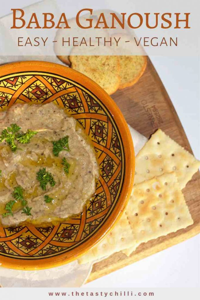 Baba ganoush is a Middle Eastern roasted eggplant dip made with tahini, lemon juice, garlic, spices and eggplant and it's easy healthy and vegan