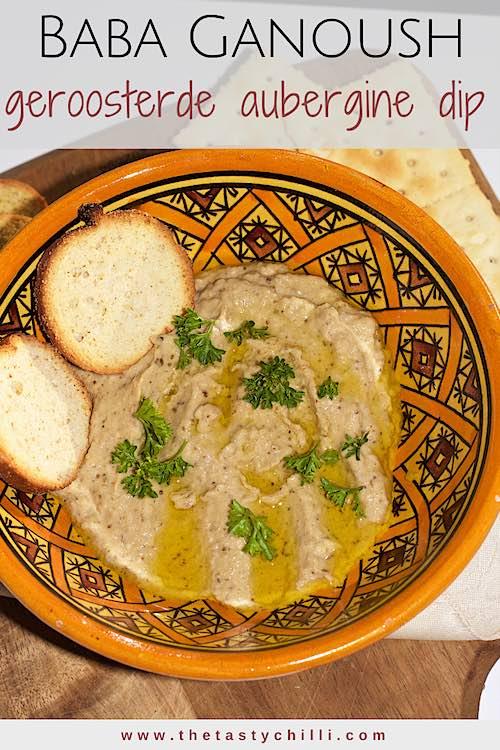 Baba ganoush is een geroosterde aubergine dip met tahini, knoflook,