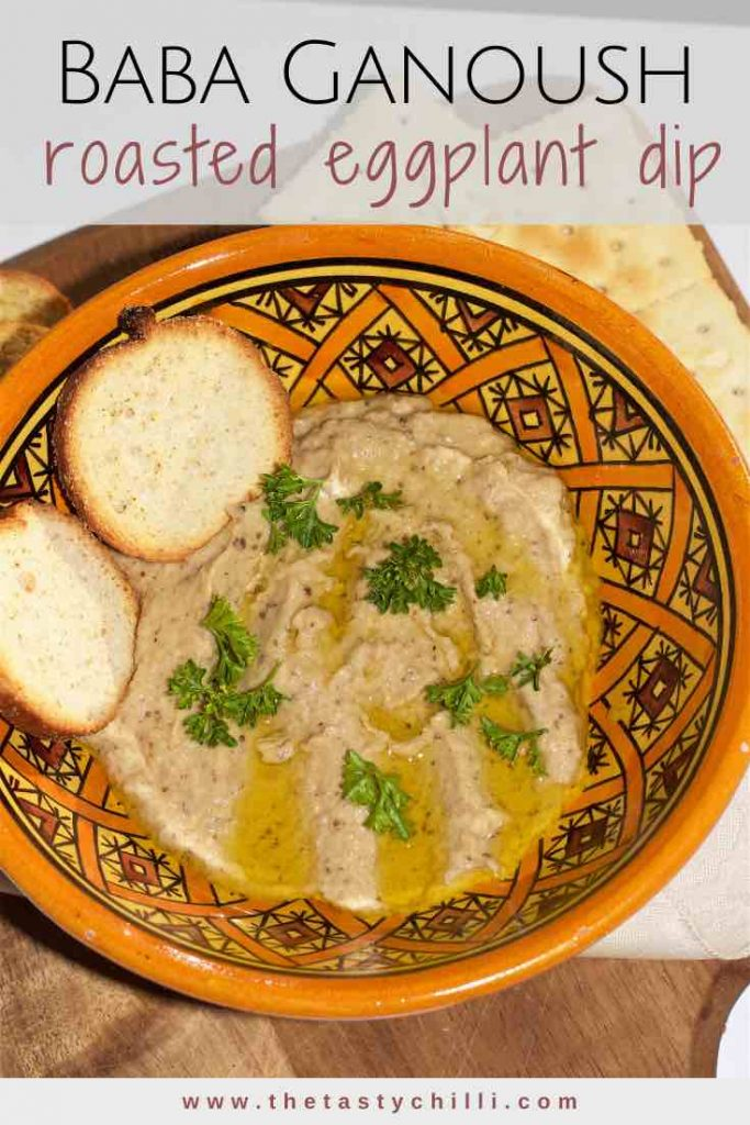 Baba ganoush is a Middle Eastern roasted eggplant dip made with tahini, lemon juice, garlic, spices and eggplant