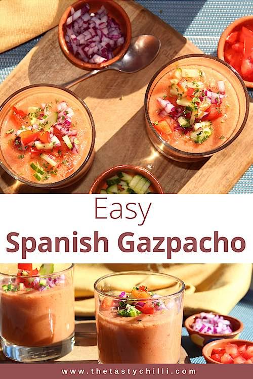 Easy Spanish gazpacho soup | Spanish gazpacho recipe | Cold Spanish tomato soup | #gazpacho #gazpachosoup #spanishsoup