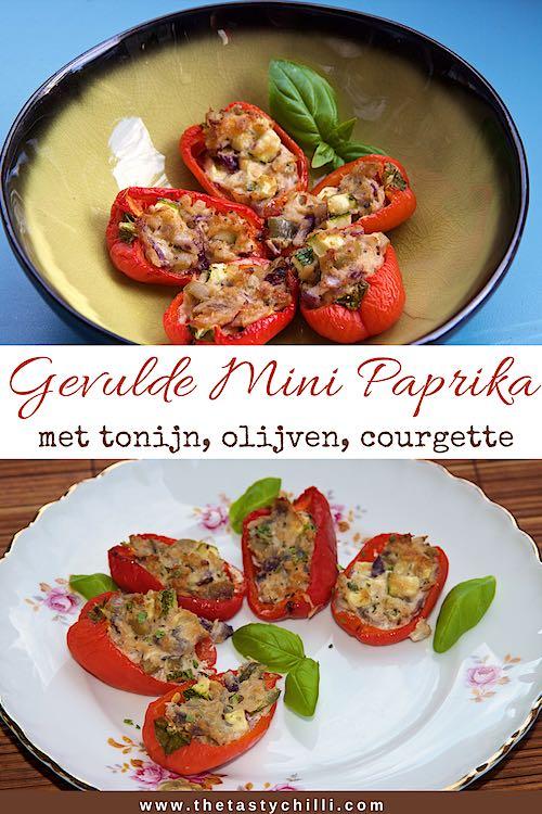 Gevulde mini paprika's met tonijn olijven en courgette | tonijn gevulde mini paprika's #gevuldepaprika #gevuldepaprikarecept #paprikarecept