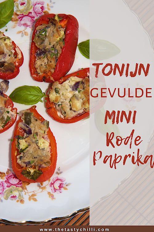 Met tonijn gevulde mini rode paprika | Snackpaprika gevuld met tonijn en zure room #gevuldepaprika #paprika
