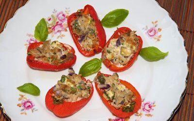 Tuna stuffed mini peppers