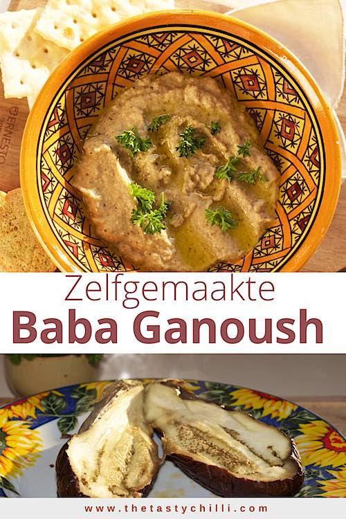 Baba ganoush is een geroosterde aubergine dip met tahini, knoflook en citroensap gemaakt van gegrilde aubergine dip #babaganoush #gegrildeaubergine #geroosterdeaubergine