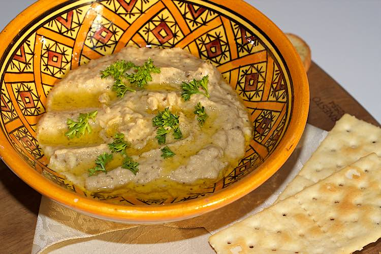 Easy baba ganoush recipe served in a yellow bowl