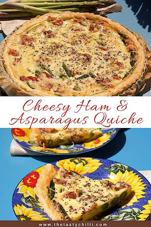 Cheesy ham and asparagus quiche recipe | Asparagus and ham quiche recipe #quicherecipe #hamquiche #asparagusquiche