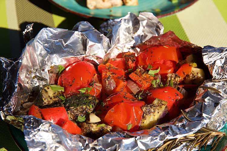 roasted mediterranean vegetables in foil as camping food