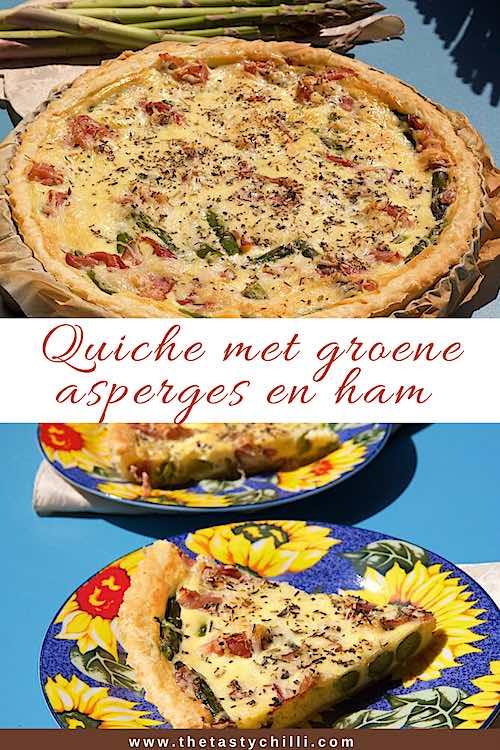 Aspergequiche met parmaham | Quiche met groene asperges en ham | Quiche met ham en asperges #quiche #quicherecept #aspergequiche