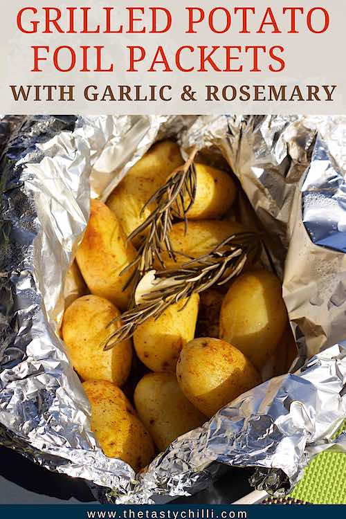 Grilled potato foil packets with rosemary and garlic | Potatoes on the grill in foil | Campfire potatoes