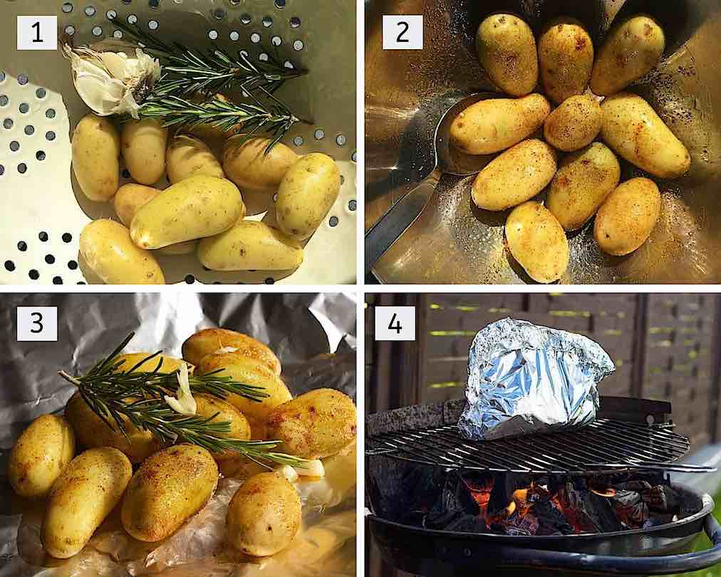 How to make grilled potatoes in foil packets with ingredients