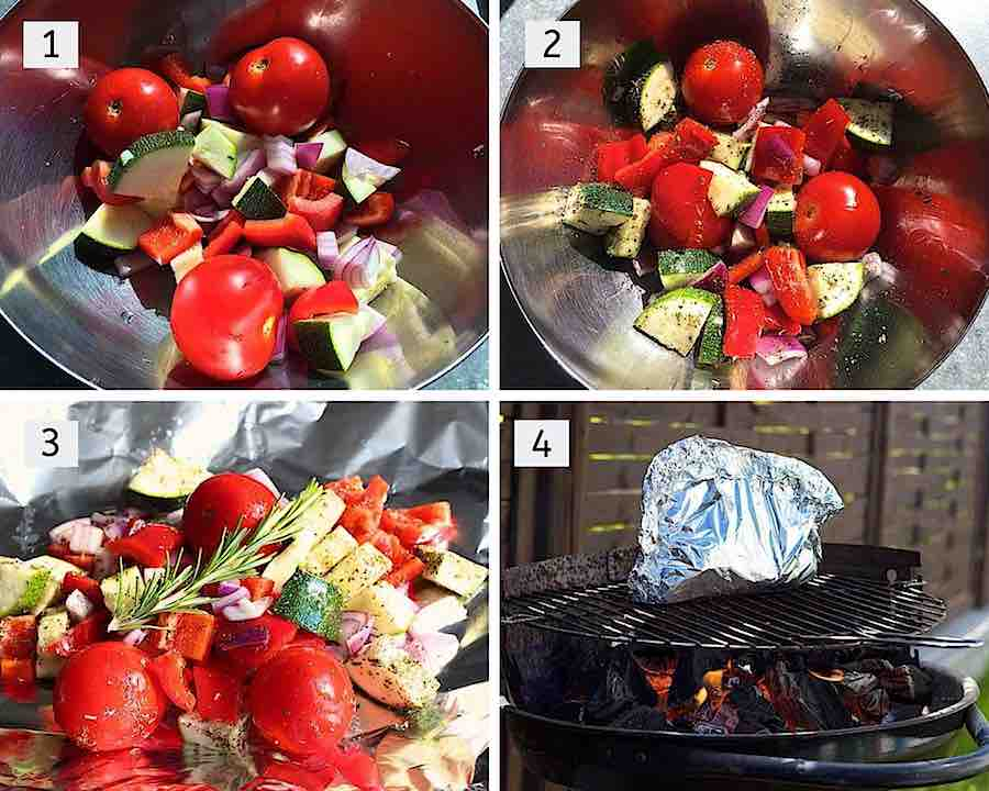 How to make mediterranean roasted veggies in foil step by step