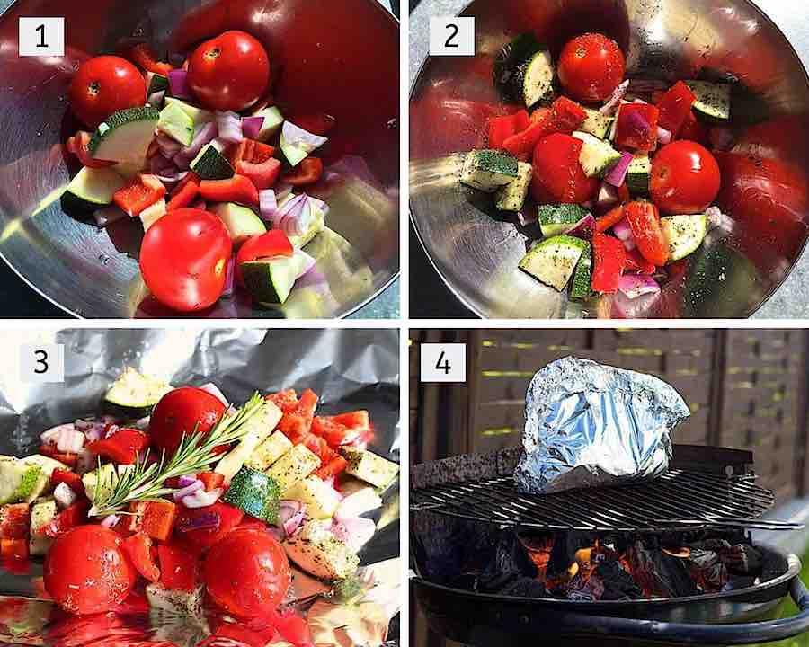 Stap voor stap groenten en papillot voor op de barbecue