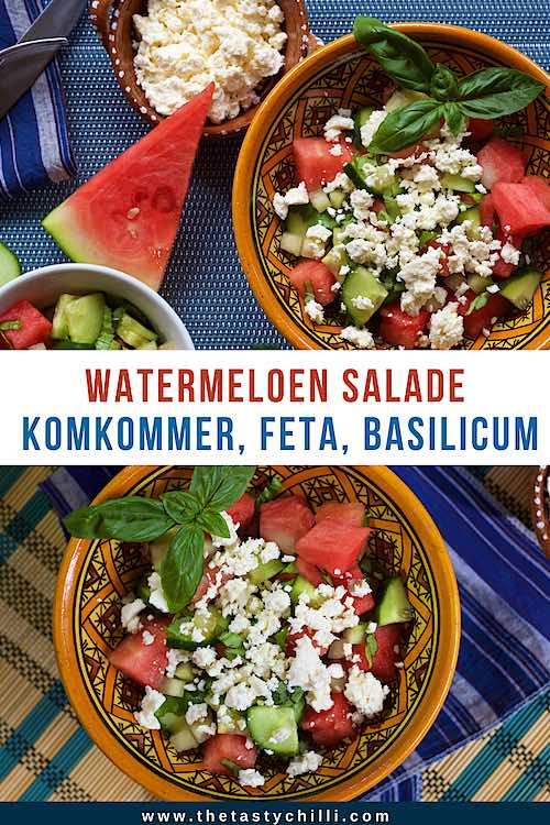 Watermeloen salade met komkommer, feta en basilicum | watermeloen komkommer salade met feta | zomerse salade met watermeloen | watermeloensalade met komkommer en feta #watermeloensalade #watermeloenrecept