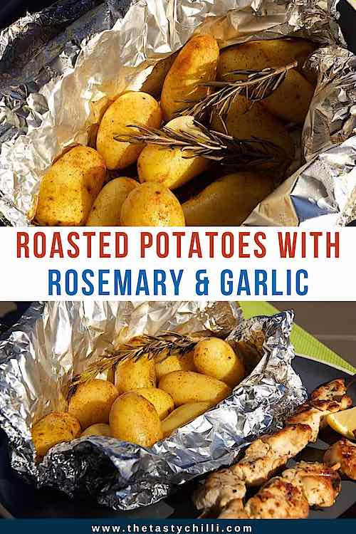 Roasted potatoes in foil packets with rosemary and garlic | Grilled potatoes in foil | Campfire potatoes