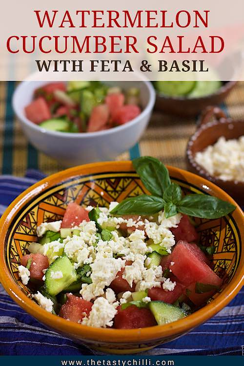 Watermelon cucumber salad with feta and basil | watermelon salad with cucumber feta and basil | watermelon cucumber feta salad | summer salad with watermelon #watermelonrecipe #watermelonrecipe