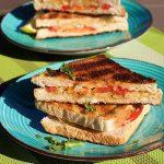 Braaibroodjies of croque met kaas, tomaat en ui doorgesneden op een blauw bord en groene placemat