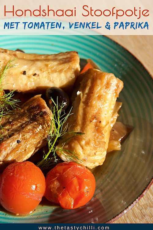 Zuiders Stoofpotje van hondshaai met tomaten, venkel en paprika | Mediterraans stoofpotje van hondshaai met zuiderse groenten