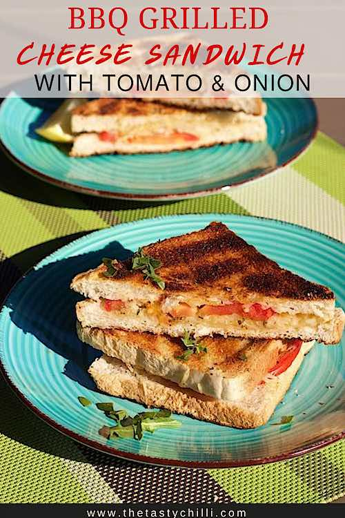 BBQ grilled cheese sandwich with tomato, onion and apricot jam which are South African braaibroodjies