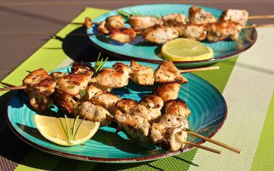 Grilled Lemon & Herb chicken skewers