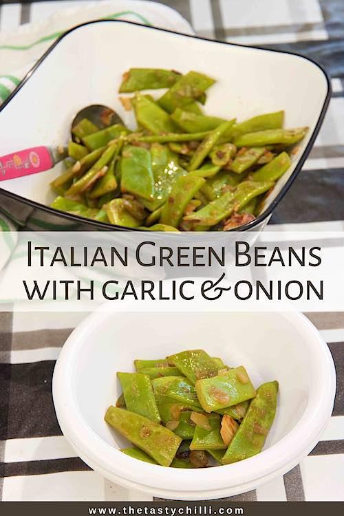 Italian green beans recipe with garlic and onion | Italian flat beans | Romano beans