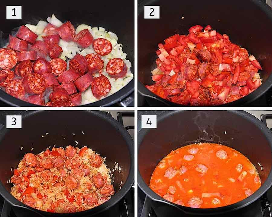Stap voor stap omschrijving hoe spaanse rijst met chorizo maken