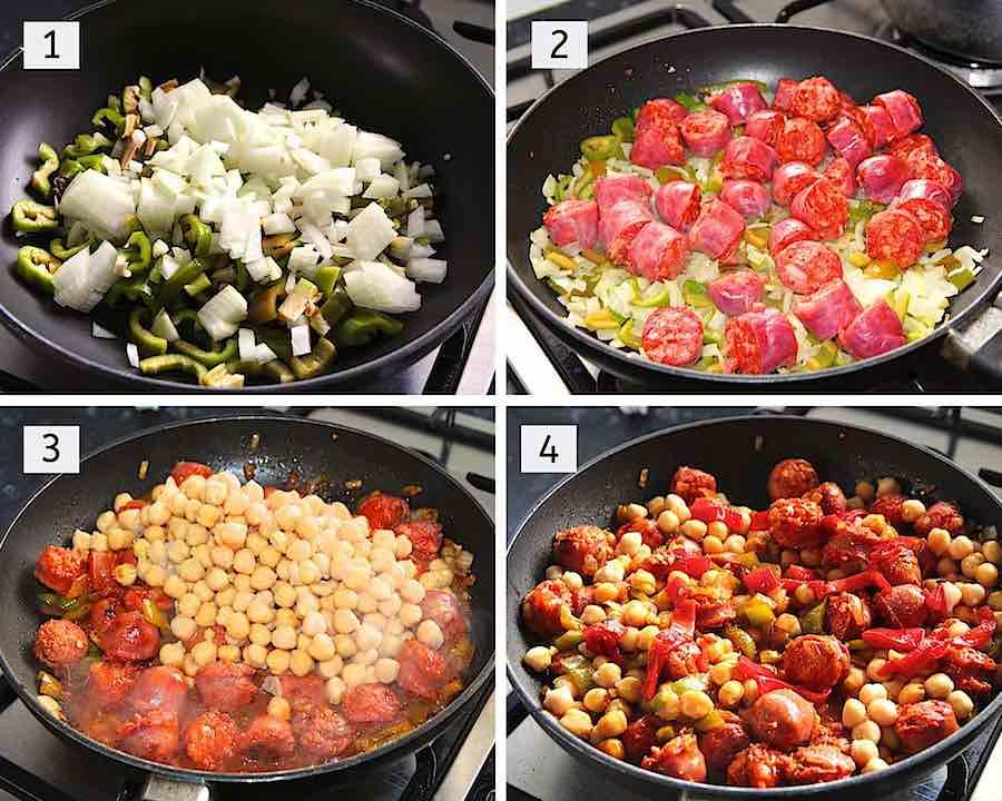 Stap voor stap hoe chorizo stoofpotje met kikkererwten te maken
