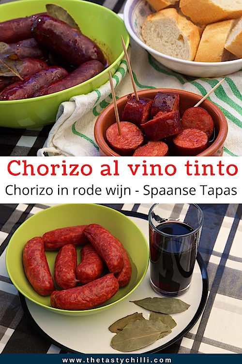 Chorizo in rode wijn met stukjes stokbrood of chorizo al vino tinto