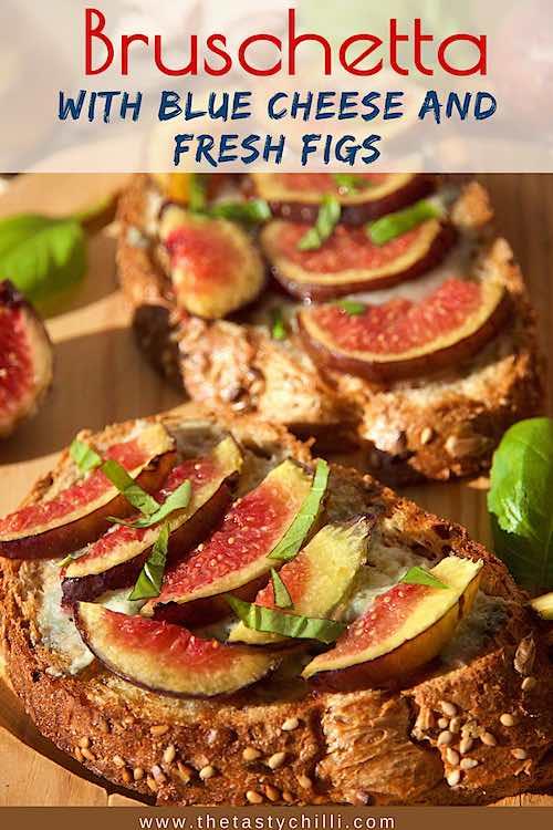 Warm blue cheese and fig bruschetta | blue cheese and fig crostini | bruschetta with blue cheese and figs