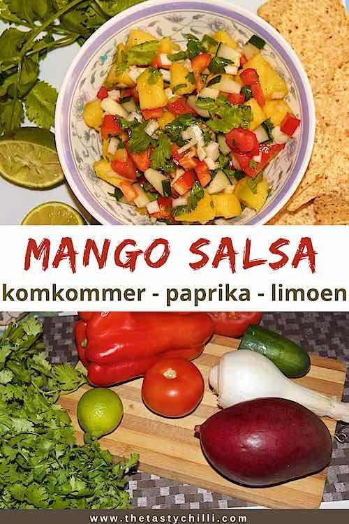 Mango salsa met komkommer paprika limoen | mangosalsa met komkommer | salsa van mango | mangosalade of mango salade
