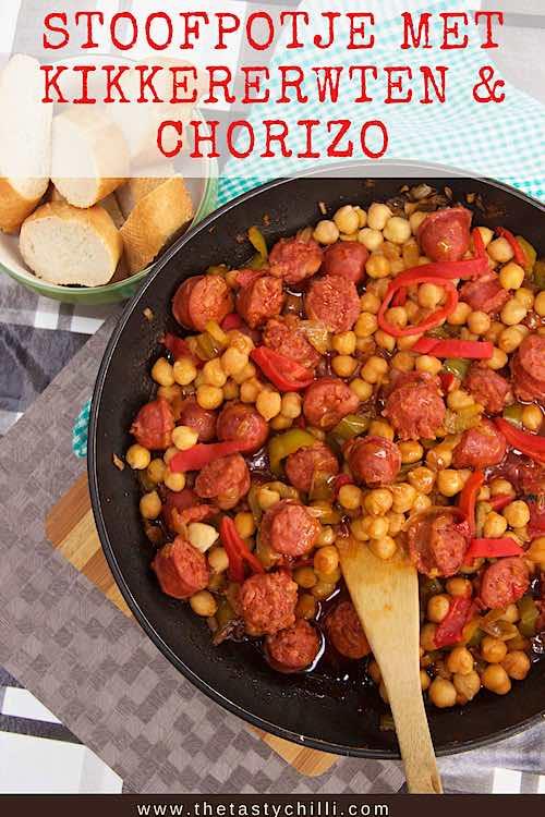 Spaans stoofpotje met kikkererwten en chorizo | kikkererwten stoofpot met chorizo | stoofpot van chorizo en kikkererwten