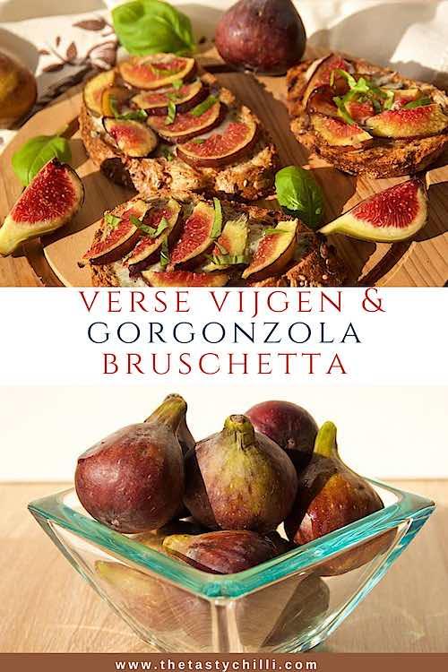 Bruschetta met verse vijgen en gorgonzola kaas | bruschetta met gorgonzola en vijgen | crostini met vijgen en gorgonzola