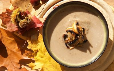 Roasted chestnut and mushroom soup