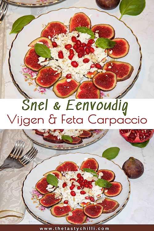 Snel eenvoudig vijgen en feta carpaccio met granaatappel | carpaccio van vijgen en feta met granaatappel en balsamico honing dressing