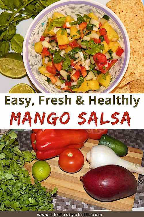 Easy fresh healthy mango salsa with lime and cilantro | mango salad side dish