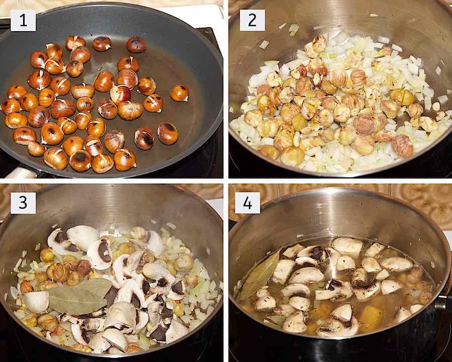stap voor stap hoe kastanjesoep met champignons maken