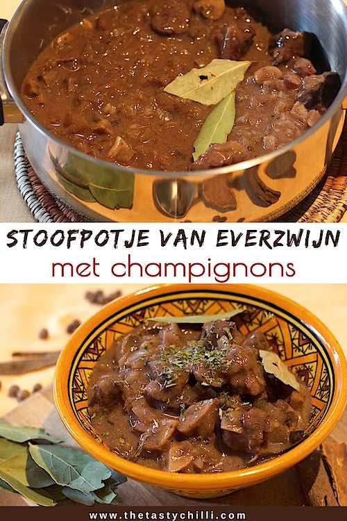 stoofpot van everzwijn recept met champignons gestoofd in rode wijn | everzwijnragout recept | everzwijn stoofvlees